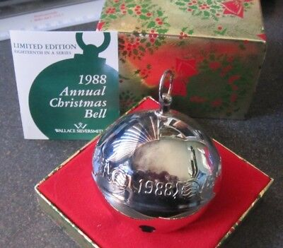 Wallace Silversmiths 1988 Silver Plated Christmas Sleigh Bell Ornament 18th