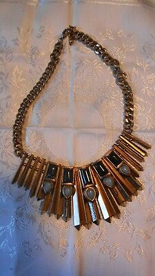 Vintage gold tone metal chunky Egyptian style necklace stylish classic