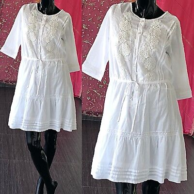 bf08cf23cdbf VINTAGE 70S INDIAN Gauze Dress Embroidered White Lace Hippie Festival Mini  -  43.20