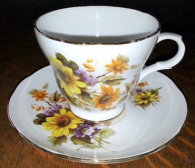 Crown Trent Fine Bone China Cup and Saucer Set Floral Staffordshire England