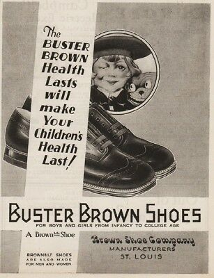 1929 Buster Brown Shoe Company St Louis MO Vintage 1920s Boys Shoes Tige Ad