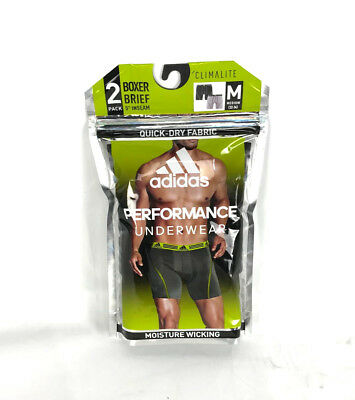 2-PACK Adidas ClimaLite Men's Moisture Wicking Performance Boxer Brief Underwear