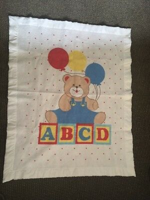 Vintage White Acrylic Polyester Bear ABCD Baby Blanket With Satin Trim Binding