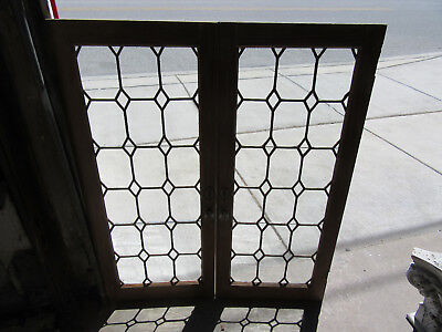 ~ Pair Of Antique Stained Leaded Glass Cabinet Doors ~ 35 X 42 ~ Salvage ~