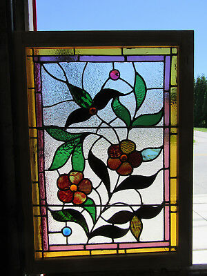 ~ Antique Stained Gl Ass Window Floral ~ 28 X 38  ~ Architectural Salvage ~