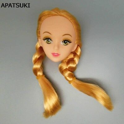 DIY Doll Accessories Golden Hair 1/6 Doll Head 3D Real Eye Doll Heads For Barbie