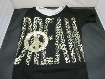 Girl's Justice Top with Sequin Embellished Peace Dream Black & White Size 12