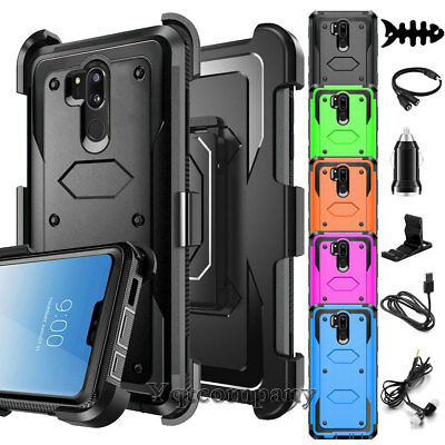 For LG G7 ThinQ Shockproof TPU Hard Hybrid Clip Holster Stand Phone Case Cover