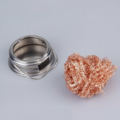 NEW Solder Tip Cleaner Soldering Iron Steel Wire Mesh Cleaning With Stand CG