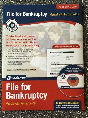 Adams File for Bankruptcy Kit manual with forms on CD Chapter 7 or 13 + Booklet