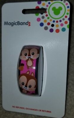 NEW Disney Parks CHIP 'N DALE Pink Magic Band 2 LINK IT LATER