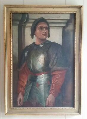 Antique 19Th Century Oil Painting Portrait Knight In Armor! Signed J. Hamilton