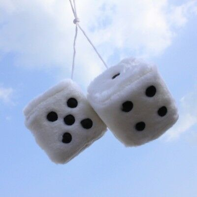 Sumex White & Black Soft Fluffy Furry Car & Home Hanging Mirror Spotty Dice #10 Auto: accessoires
