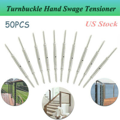 """50 PCS T316 Hand Swage Tensioner for Cable Railing Lag Screw  1/8"""" Cable Railing"""