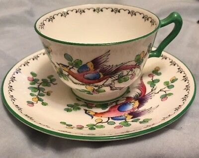 Beautiful Handpainted Crown Staffordshire Bird Of Paradise Tea Cup and Saucer