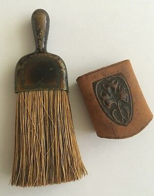 Antique Clothes Brush w/ Horse Hair, Enameled Metal Handle & Leather Band