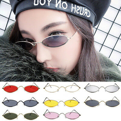 Vintage Retro Small Trendy Tiny Sunglasses Women Men Oval Frame Shades Glasses