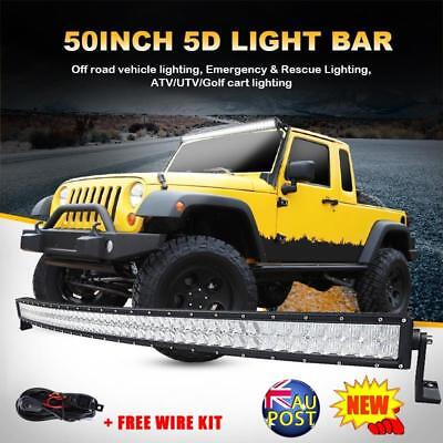 """CURVED 50inch"""" 288W 5D CREE Spot&Flood LED Light Bar Offroad Driving Lamp Truck"""