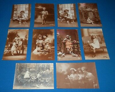 Lot of 8 Charming Vintage Early French Postcards