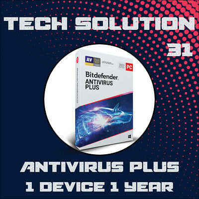 Bitdefender Antivirus Plus 2020 1 Device 1 Year + Support + Proof of Genuine