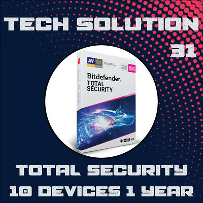Bitdefender Total Security 2020 10 Devices 1 Year + Support + Proof of Genuine