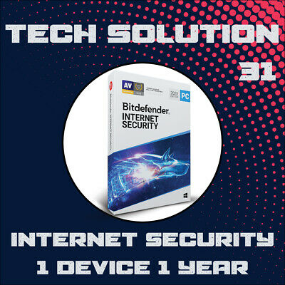 Bitdefender Internet Security 2020 1 Device 1 Year + Support + Proof of Genuine