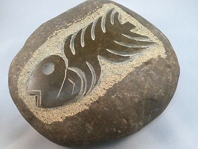 Hand-carved granite river stone, Fossil fish