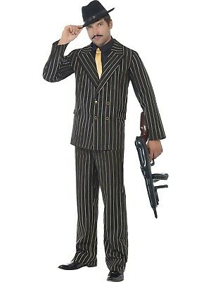 Gatsby Gangster Mob Costume Suit 20s Gangsta Zoot Gold Pinstripe Mens Costume