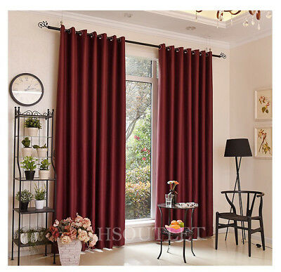 Ready Made Thermal Red Blackout Curtains Door Curtain Eyelet Ring Top + Tie Back