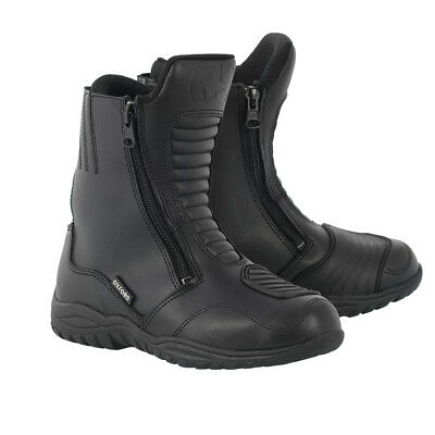 Motorbike Motorcycle Oxford Warrior Leather Waterproof Short Touring Boots Black
