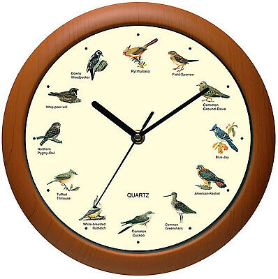 12 Inch Wall Clock Singing Bird Battery Powered Beautiful Songs Melody Sound