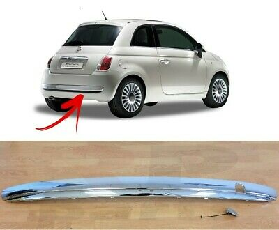 07-15 REAR BUMPER CHROME MOLDING TRIM WITH TOW HOOK COVER SET NEW FIAT 500 312
