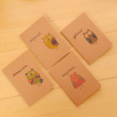 4pk Adorable Owls Cute Mini Notebooks Small Notepads Black Page Pocket Memo Pads