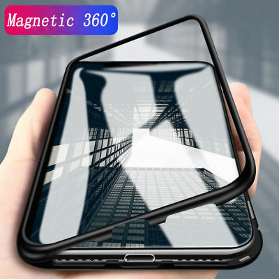 Magnetic Metal Frame Tempered Glass Back Case Cover for iPhone XS Max 7 8 6 Plus