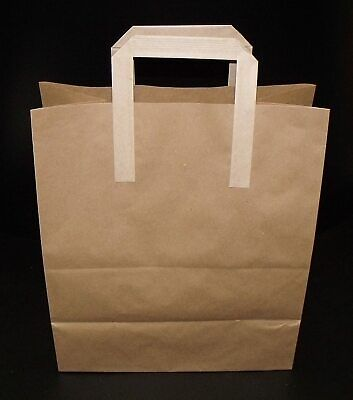 Sos Takeaway Brown ''Large'' Bags - 250Pcs Approx*****Fast And Tracked Delivery*