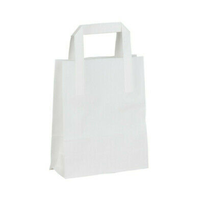 Sos Takeaway White ''Large'' Bags - 250Pcs Approx*****Fast And Tracked Delivery*
