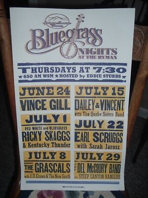 Bluegrass Nights Ryman Theater Hatch Show Print Poster 2010 Vince Gill Opry