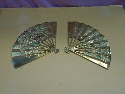 2 VTG solid brass fans Oriental Asia embossed wall decor