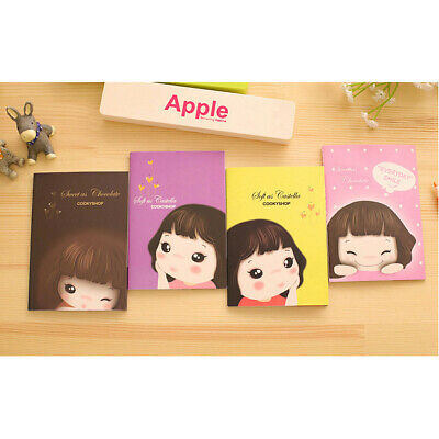 4pk Lovely Girls Mini Cute Notebooks Small Notepads Notes Pad Pocket Memo Pads