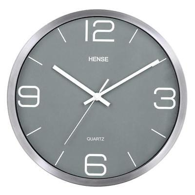 Wall Clock Metal Round Non Ticking Modern Stylish Elegant Operated Battery Home