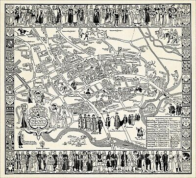 Oxford pictorial history map, uncoloured reproduction