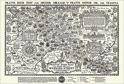 Watling Street - pictorial map of roads from Dover to Holyhead. Reproduction