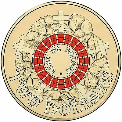 $2 two dollar coin 2015 - ANZAC Remembrance RED - Lest We Forget UNC - Mint Bag