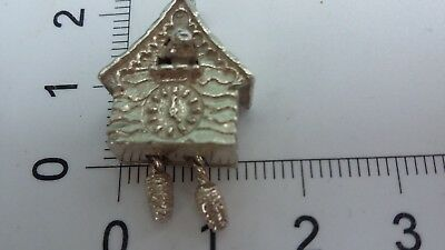 """vintage""sterling Silver Cuckoo Clock Moving Weights Charm,4.70 Gr,gift Wrapped!"