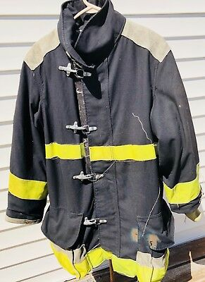 "Body Guard Firefighter Turnout Coat / Jacket Size 48x33"" Black Yellow TFC"