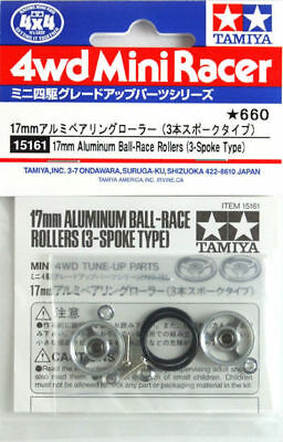 Mini4wd ROTELLE - 17 mm Aluminum Roller (3-Spoke) con Oring 15161 Tamiya