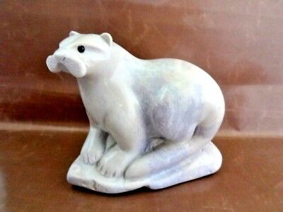 Extraordinary Marble Otter Sculpture, Signed, Gray/Beige/Pale Yellow
