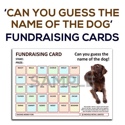 A4 Fundraising Cards - [ Name the Dog! ] - Works like the Football Charity Cards