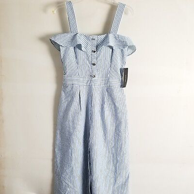 37471bd3496 ZARA STRIPED JUMPSUIT Size Small With Ruffles White Navy NWT 787 915 ...