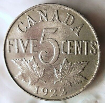 1922 CANADA 5 CENTS - HIGH GRADE - Great Coin - FREE SHIPPING - HV38